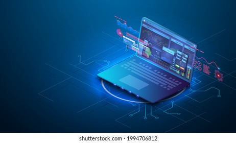Dashboard Application on laptop with business analytics data, charts. Forex market. Binary option. Stock, great design for any purposes. Business graph. Internet technology. App screen for trading