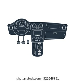dashboard, Automatic transmission, hand parking brake, isolated icon on white background, auto service, repair, car detail,