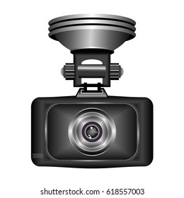 Dashboard camera for accident recording, front view. Realistic vector illustration isolated on white background.