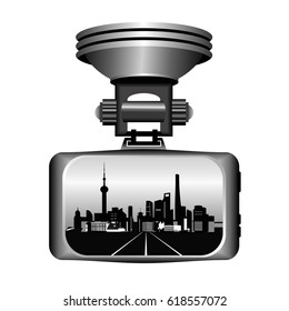 Dashboard camera for accident recording, screen with city view. Vector illustration isolated on white background.