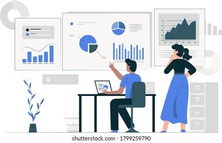 Dashboard and Data statistics modern illustration - Growth