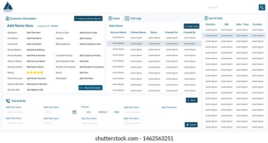 Dashboard Design for Contact Center Agents. Vector