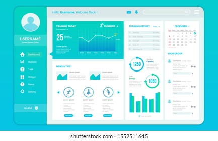 Dashboard for fitness progress template with infographic report