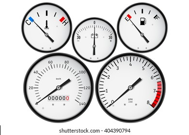 Dashboard - fuel gauge, tachometer, speedometer, odometer, fuel gauge, accumulator charge gauge. Realistic vector illustration isolated on white background