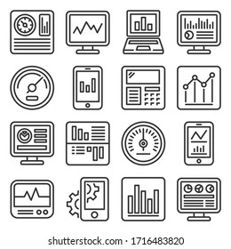 Dashboard with Graphs and Charts Icons Set. Line Style Vector