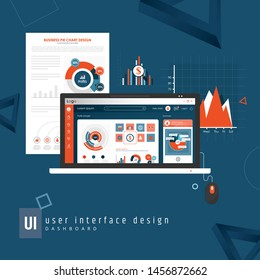 Dashboard, great design for any site purposes. Business info graphic template. Vector flat illustration. Big data concept Dashboard user admin panel template design. Analytics admin dashboard. Blue.