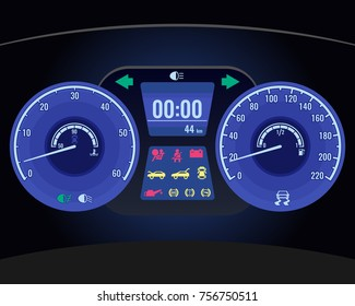 Dashboard instrument control panel or fascia realistic vector