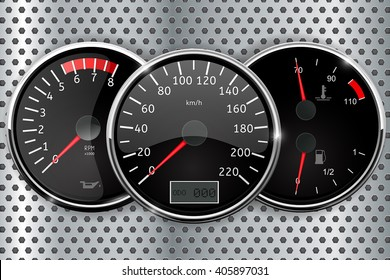 Dashboard - speedometer, tachometer, temperature and fuel gauge. Vector illustration on metal perforated background