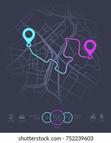 Dashboard theme creative infographic of city map navigation. Vector illustration