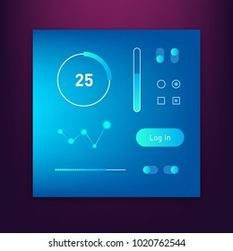 Dashboard UI and UX Kit. Bar chart and line graph designs. Different infographic elements. Dark background. Head-up display elements for the web and app. Futuristic user interface. Virtual graphic