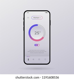 Dashboard UI and UX Kit. Control center design. Temperature control in the room. EPS 10.