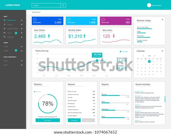 Dashboard User Admin Panel Template Design Stock Vector (Royalty
