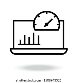Dashboard Vector Line Icon.speed meter.