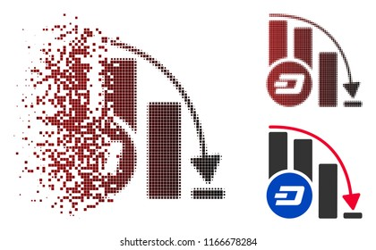 Dashcoin falling acceleration chart icon in dispersed, pixelated halftone and undamaged solid versions. Cells are arranged into vector dispersed Dashcoin falling acceleration chart icon.