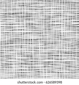 Dashed line abstract seamless pattern. Repeated rectangles texture. Black and white background. Hand drawn vector illustration