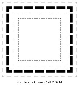 Dashed line squares. Thin and thick lines. Cut lines, square cutout forms