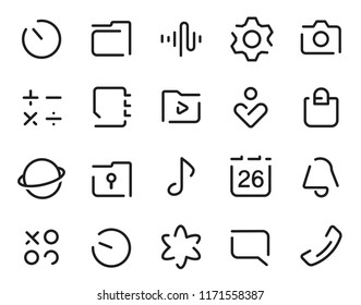 Dashed Outline universal smartphone ui Icons set. Editable user interface stroke icon. Vector thin line vector icon set for web design and website application.