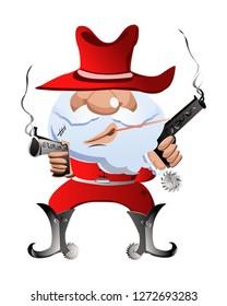 dashing cowboy santa claus with guns vector
