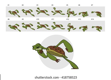 Dashing turtle. Classic animation of running turtle.