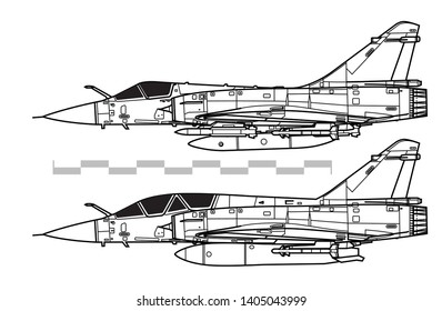Dassault Mirage 2000. Outline vector drawing