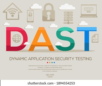 DAST Mittelwert (Dynamic Application Security Testing) IT Security Akronyme, Buchstaben und Symbole , Vektorgrafik.