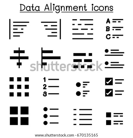 data alignment text formatting icon set stock vector royalty free