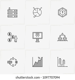 Data Analitic line icon set with graph , question and cash transfer
