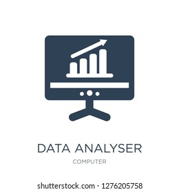 data analyser icon vector on white background, data analyser trendy filled icons from Computer collection, data analyser vector illustration