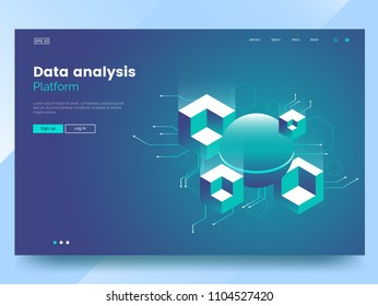 Data analysis abstract isometric technology illustration. Abstract 3d big data visualisation. Web page design concept. Website header layout. Vector eps 10.