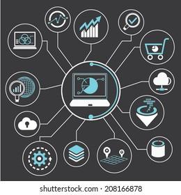 data analysis, data analytics info graphic in black background