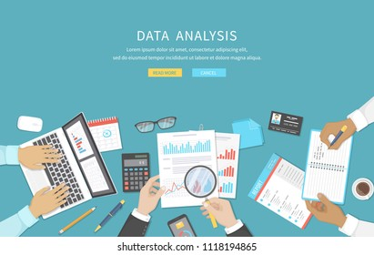 Data analysis, business meeting, audit,  calculation, reporting, accounting. People at the desk at work. Human hands on a table with documents, graphs, charts, notebook, phone, laptop. Vector