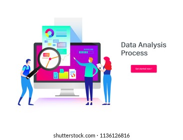 Data analysis. Business people. Flat cartoon miniature  illustration vector graphic on white background.