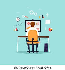 Data analysis, businessman working at computer, office, workplace. Flat design vector illustration.
