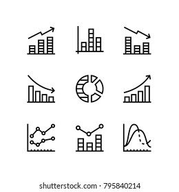 Data analysis, chart, diagram vector simple icons for web and mobile design pack 1