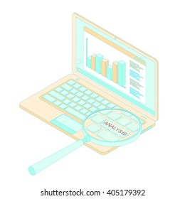 Data analysis. The charts and graphs. The income growth. A magnifying loupe. The laptop isometric. Light orange and turquoise. Vector illustration.