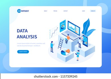 Data analysis concept with characters. Can use for web banner, infographics, hero images. Flat isometric vector illustration isolated on white background.