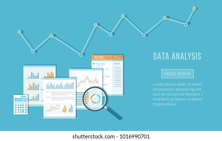Data analysis concept. Financial Audit, SEO analytics, statistics, strategic, report, management. Charts, graphics on documents, magnifying glass, calculator. Vector top view