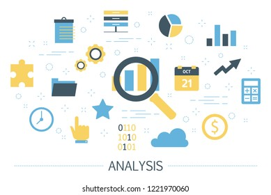 Data analysis concept. Idea of business information research and development. Management and marketing. Set of colorful icons. Isolated flat vector illustration