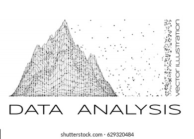 Data analysis concept illustration. Vector graphics with chart and particle.