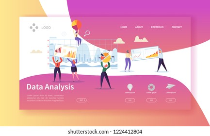 Data Analysis Concept Landing Page. Flat People Characters Building Dashboard Graph Website Template. Easy Edit and Customize. Vector illustration