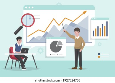 Data analysis concept. People analyzing growth charts. Business data analysis. Increase sales and skills. People analytics. Monitoring investment. Finance report graph. Charts and diagrams. Vector.