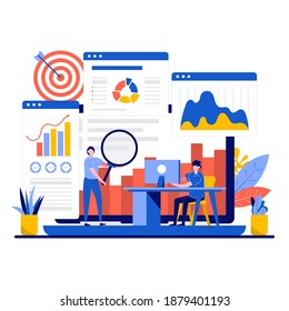Data analysis concept with tiny character. Teamwork of business analysts charts and diagrams of sales management statistics and operational reports flat vector illustration. Finance report metaphor.