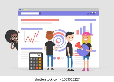 Data analysis conceptual illustration. Young character standing in front of the browser with charts and infographics. Information. International millennial team. Flat editable vector, clip art