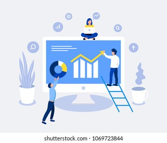 Data analysis design concept. Analysts working. Laptop screen with data analysis graphs ansd charts. Trendy flat style. Vector illustration.