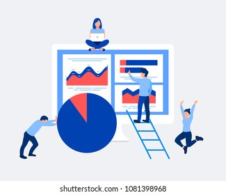 Data analysis design concept. Analysts working. Small people and laptop screen with data analysis graphs ansd charts. Trendy flat style. Vector illustration.