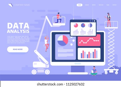 Data analysis design concept. Analysts working. Small people with data analysis graphs and charts. Trendy flat style. Vector illustration.