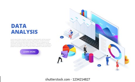 Data analysis design concept with people and laptop. Isometric vector illustration. Landing page template for web.