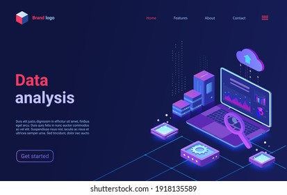 Data analysis, financial analytics isometric vector illustration. Cartoon 3d analyst trader workplace with laptop and big chart graph information, finance research business technology landing page