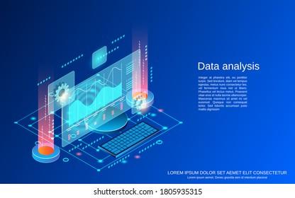 Data analysis flat 3d isometric vector concept illustration