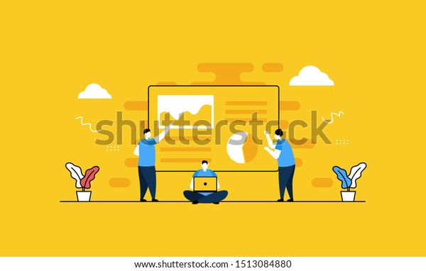 Data analysis flat vector illustration concept,can be used for landing page, ui, web, app intro card, editorial, flyer, and banner.
